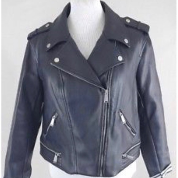 2bede949a BCBGeneration Navy Faux Leather Moto Jacket - XL